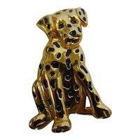 Vintage Anne Klein AK Goldtone Black Enamel Dalmatian Dog Pin