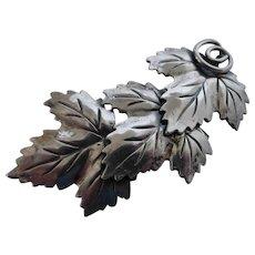 Vintage Sterling Silver Grape Leaves Pin Brooch