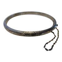 Vintage Sterling Silver Chased Hinged Bangle Bracelet