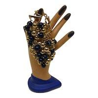 Fabulous Vintage Dangle Cluster Bead  Bracelet w Blue & Clear Glass & Gold Tone Beads Banana Republic