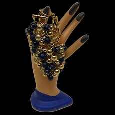Fabulous Vintage Dangle Bead Cluster Bracelet w Blue & Clear Glass & Gold Tone Beads Banana Republic