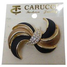 Vintage Carucci Black & Gold Enameled Brooch w Rhinestones Mint