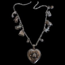 Vintage Sterling Silver Rose Heart Locket & Charm Necklace
