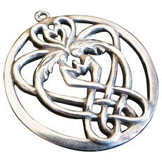Vintage Sterling Silver Celtic Lover's Knot Pendant Signed SAW