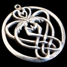 Vintage Sterling Silver Celtic Lover's Knot Pendant Signed SAW