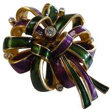 Vintage Joan Rivers Multi-Color Rhinestone Ribbon Bow Brooch Pin