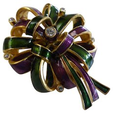 Vintage Joan Rivers Multi-Color Rhinestone Ribbon Bow Brooch Pin