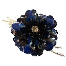 Vintage Coro Large Enamel Flower Brooch w Rhinestone Signed
