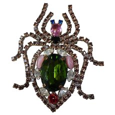 Fabulous Huge Bejeweled Multi-Color Crystal Rhinestone Insect Brooch