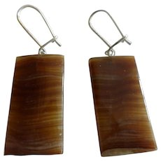 Vintage Banded Agate Drop Earrings w Sterling Silver Hoops