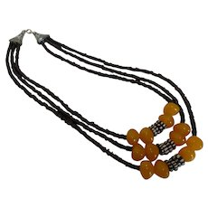 Triple Strand Tribal Natural Amber, Dark Carnelian & Black and White Bone Bead Necklace Earring Set
