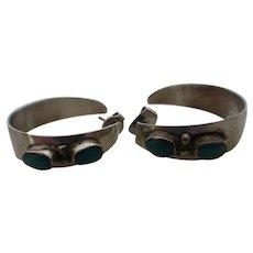 Vintage Native American Indian Sterling Silver Turquoise Hoop Earrings