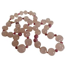 Vintage Carved Rose Quartz and Rhodonite Bead Necklace with Gold Plated Clasp