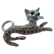 Vintage Crystal Rhinestone Cat Brooch