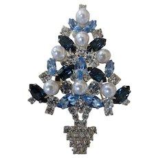 Eisenberg Ice Christmas Tree Brooch Swarovski Crystals Simulated Pearls
