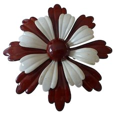 1960's Large Retro Enameled Metal Flower Power Pin