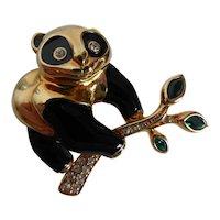 Vintage Signed Swarovski Panda Pin Brooch Crystal Rhinestone & Enamel