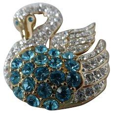 Vintage Napier Crystal Encrusted Swan Brooch Pin