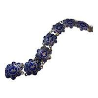Siam Sterling Silver & Blue Enamel Exotic Panel Link Bracelet