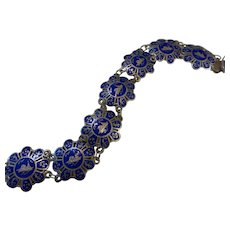 Siam Sterling Silver & Blue Enamel Exotic Panel Link Bracelet