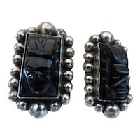 Vintage Mexico Sterling Silver Carved Onyx Tribal Mayan Face Mask Earrings