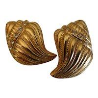 Vintage KJL for Avon Seashell Gold Tone and Rhinestone Earrings
