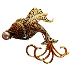 Damascene Tropical Fish w Pearl Pin Brooch Spain