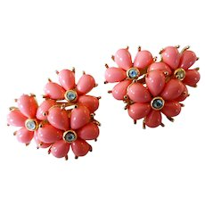 Vintage 1960s Signed Orange Plastic & Rhinestone Flower Cluster Earrings