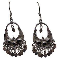 Black Onyx Sterling Silver Chandelier Earrings