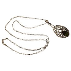 Peridot Sterling Silver Celtic Knot Pendant Necklace by Peter Stone