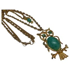 Vintage Double Owl Jelly Belly Necklace on Double Chain Faux Jade