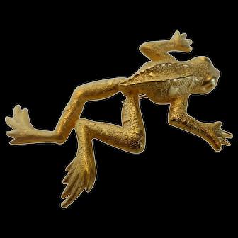 J.J. Jonette Signed Articulated Frog Brooch