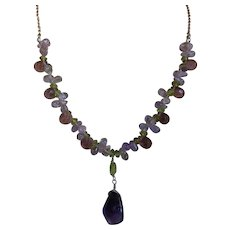 Amethyst & Peridot Sterling Silver Necklace