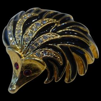 Vintage Hedgehog Brooch Pin w Black Enamel & Crystal Rhinestones