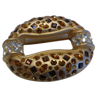 Rare Retired Swarovski Signed Golden Amber & Topaz Brooch Pin