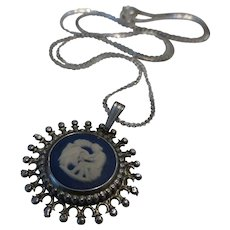 Genuine Wedgwood Jasperware Sterling Silver Pendant Necklace on Sterling Chain