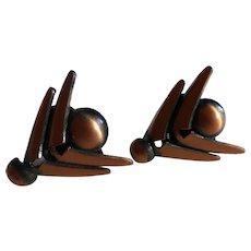 Modernist Renoir Copper Chevron Earrings