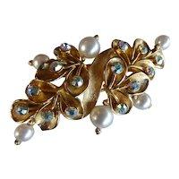 Stunning WEISS Gold AB Rhinestone & Pearl Brooch Pin