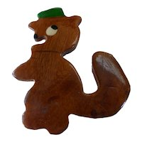 Vintage Carved & Painted Wood Squirrel Pin