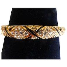 Swarovski Signed Black Enamel Crystal Rhinestone Hinged Bangle Bracelet Original Velvet Bag