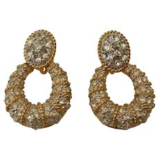 Dazzling Swarovski  Earrings Pave Set Crystal Door Knockers  Signed