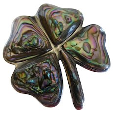 Vintage Sterling Silver Abalone 4-Leaf Clover Shamrock Pin Taxco Mexico Eagle 3