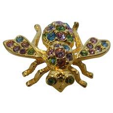 Joan Rivers Bumble Bee Brooch w Colored Crystal Rhinestones