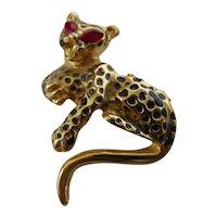 Leopard Jaguar Pin Brooch w/ Red Rhinestone Eyes & Black Enamel Spots
