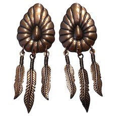 Vintage Native American Style Copper Conch Feather Earrings