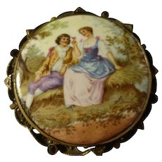 Painted Porcelain Brooch Courting Couple Filigree Back