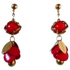 Early Plastic Red Cherry Long Dangle Earrings