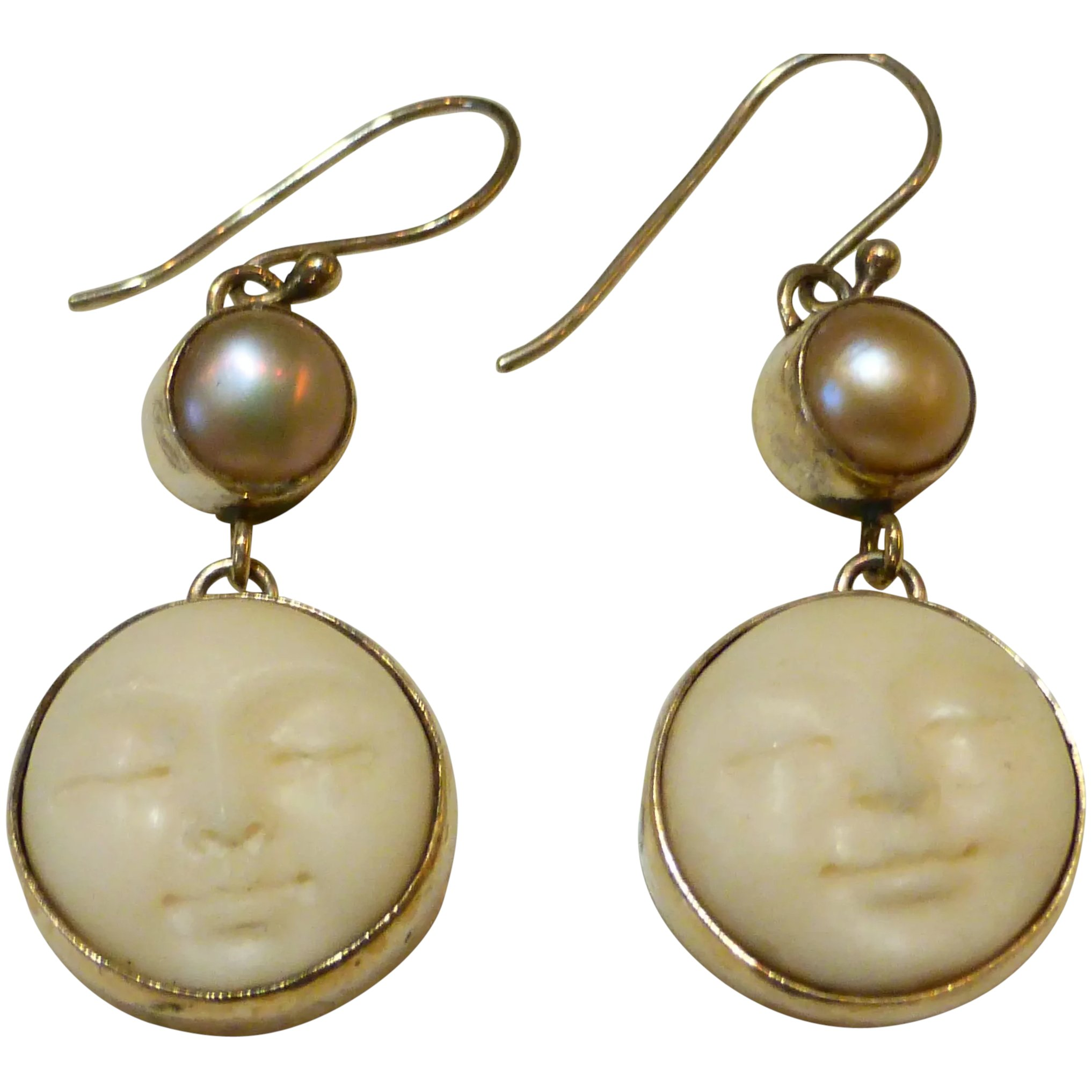 Sterling Silver Carved Bone Moon Face Pearl Earrings Historique Ruby Lane