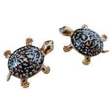 Vintage Enamel Tortoise Shell Turtle Hatchling Pins Pair
