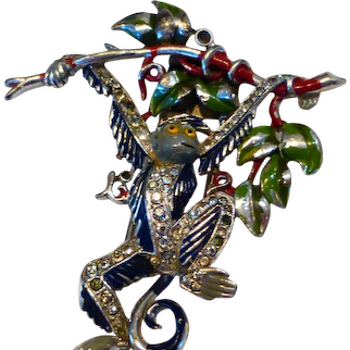 Trifari 'Alfred Philippe' Pave and Enamel Hanging Monkey Brooch Clip
